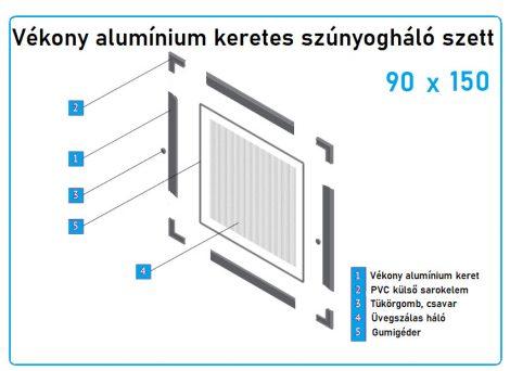 90*150-es alumínium keretes szúnyogháló szett (7*17-es)