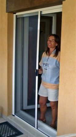 Rolós szúnyogháló ajtó, dupla tokos kettényíló