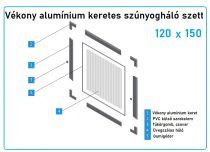 120*150-es alumínium keretes szúnyogháló szett (7*17-es)