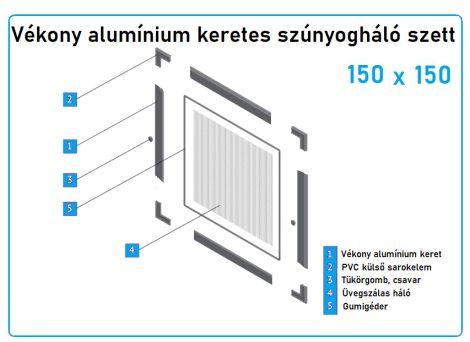 150*150-es alumínium keretes szúnyogháló szett (7*17-es)