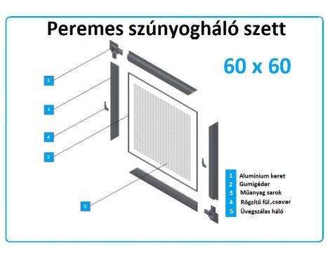 60*60-as alumínium keretes szúnyogháló szett (peremes)