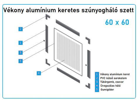60*60-as alumínium keretes szúnyogháló szett (7*17-es)