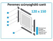 120*150-es alumínium keretes szúnyogháló szett (peremes)