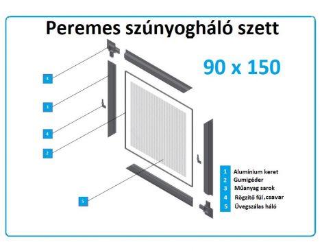 90*150-es alumínium keretes szúnyogháló szett (peremes)
